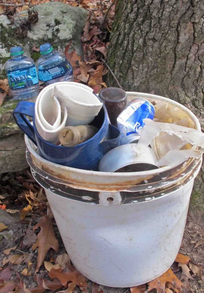 Trash along the trail.