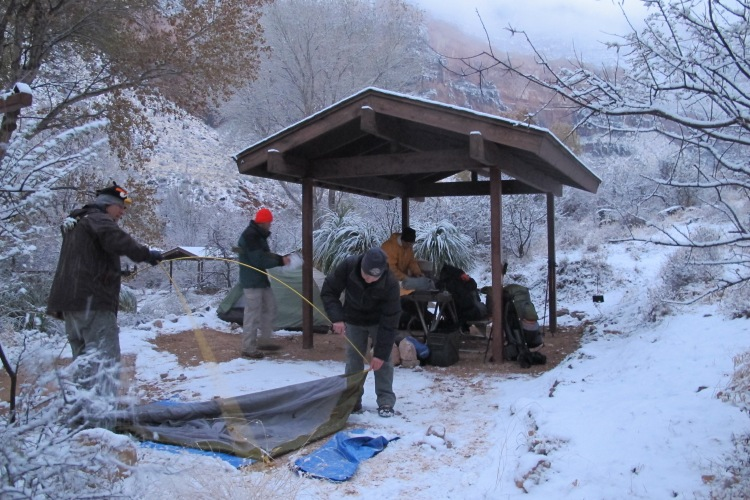 Breaking camp at Indian Gardens for the for the hike up the Bright Angel Trail.