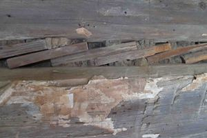 Detail of an inner wall of the Parker-Hickman cabin