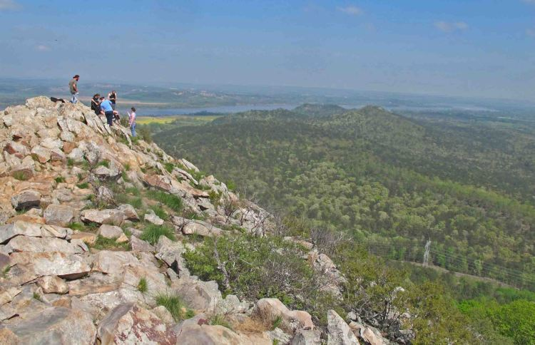 Arriving at the top of Pinnacle Mountain with the Arkansas River in the distance.