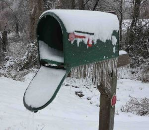 Snow in the mailbox.