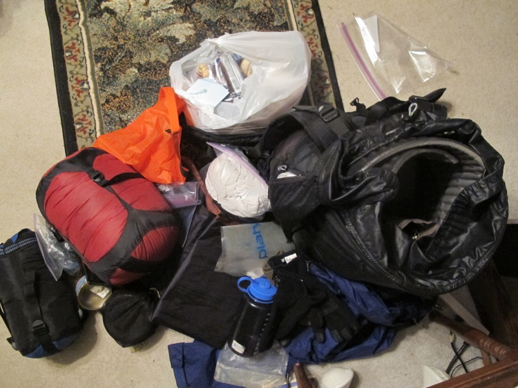 Backpack pile taking form