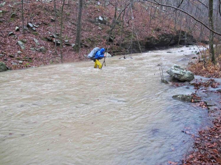 Crossing a swollen Spirits Creek