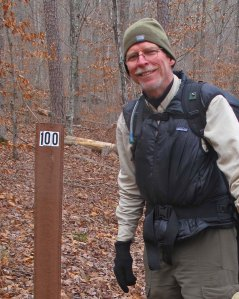 Passing the 100-mile marker of the Ozark Highlands Trail.