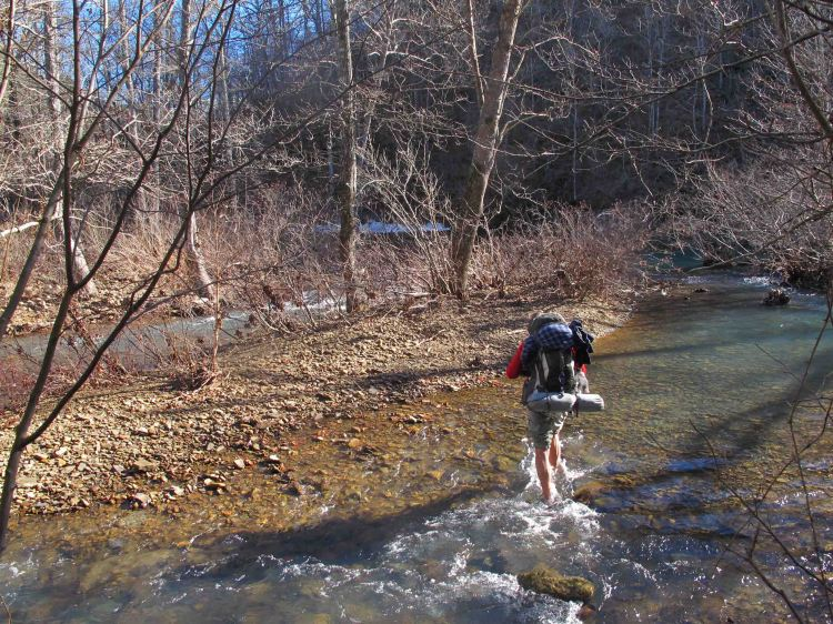 Crossing Richland Creek at the CCC Camp