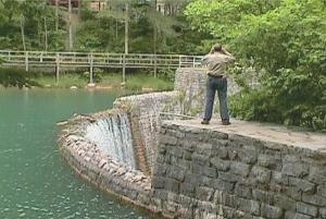 Dad taking pictures at Mirror Lake, Blanchard Springs