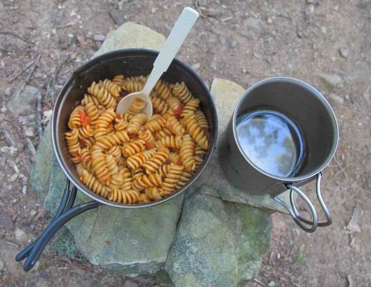 Dehydrated pasta and sauce.  At home, cook the pasta about 6 minutes then dehydrate.  One of my favorites on the trail!