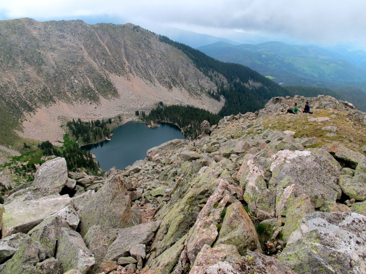 Looking down on Lake Catherine from the top of Santa Fe Baldy.