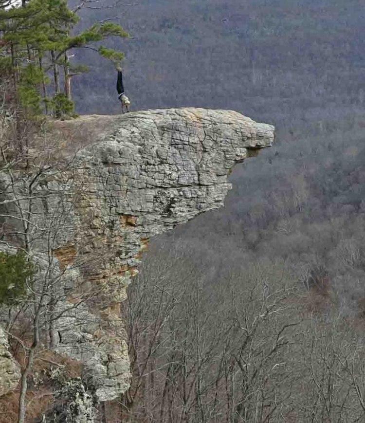 Handstand on Hawksbill Crag