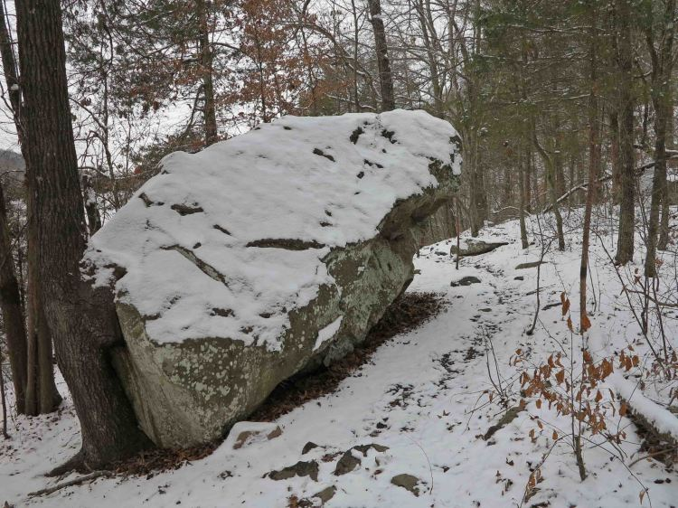 Leaning rock next to the Lake Alma Trail.
