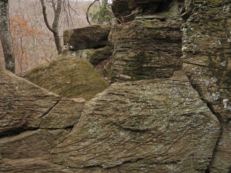 Rock formations next to the trail.