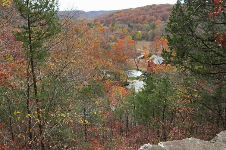 View of Alley Springs Mill from the trail