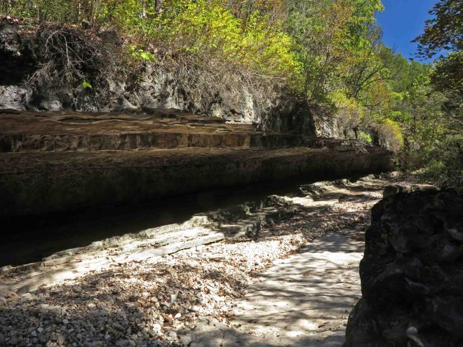 Overhanging creek bluff