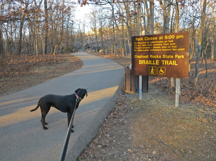 Elephant Rocks 5_Hiker-dog at trailhead.jpg