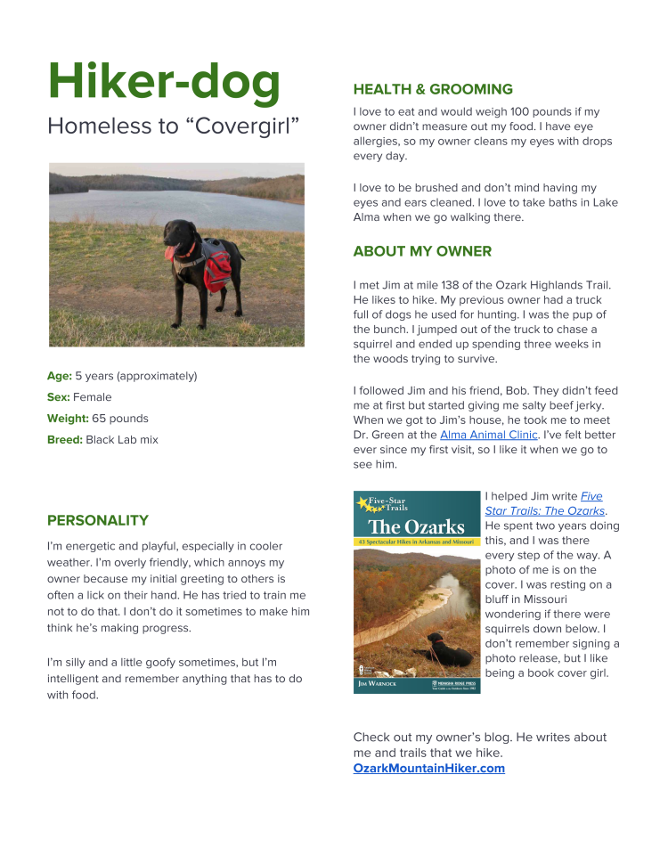 hiker dog s resume ozarkmountainhiker