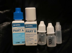Aquamira Water treatment drops divided into smaller bottles for lighter cargo.