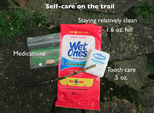 Examples of self-care items worth packing such as medication, wet wipes and dental floss.