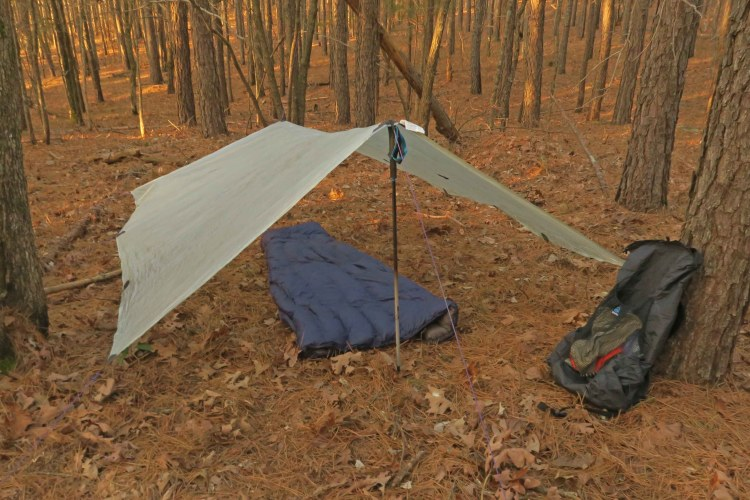 A Zpacks tarp pitched with stakes in the woods provides good shelter in warmer months.